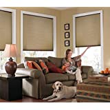 "Custom Cordless Single Cell Shades, 62W x 54H, Antique Linen, Any size from 21"" to 72"" wide and 24"" to 72"" high Available"