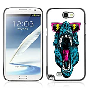 CQ Tech Phone Accessory: Carcasa Trasera Rigida Aluminio Para Samsung Galaxy Note 2 N7100 - Funny T-Rex Sunglasses