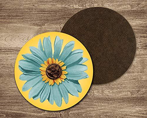 Blue daisy drink coasters. Set of 4