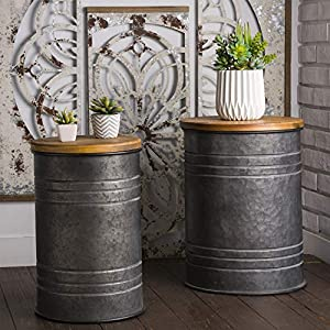 Glitzhome Rustic Storage Ottoman Seat Stool, Farmhouse End Table, Galvanized Metal Accent Side Table Toy Box Bin with…
