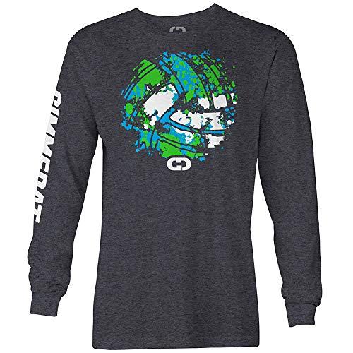 GIMMEDAT Splatter Volleyball Long Sleeve Shirt Player Gift (X-Large) Charcoal Grey