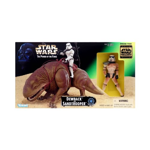 Star Wars 1997 The Power Of The Force Action Figures Playset   Dewback And Exclusive Sandtrooper Figure With Battle Lance  Blaster Rifle And Backpack