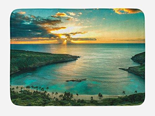 Ambesonne Hawaiian Bath Mat, Sunrise Over Hanauma Bay Oahu Hawaii Sunbeams Through Clouds Shoreline, Plush Bathroom Decor Mat with Non Slip Backing, 29.5