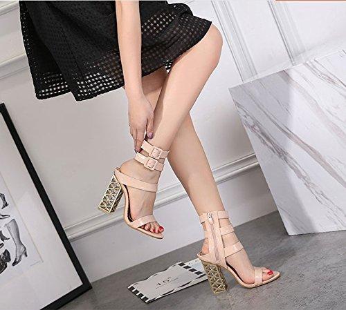 Orteil De Mode Ultra Haut Et Avec Boucle Talon 5Cm Thirty Ceinture KHSKX eight Abricot 8 La Chaussures Semelles De Chaussures Épaisses Gros TwBHxF4q