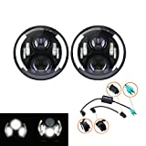Primeauto Pair 7inch Round 50W Hi/Lo Beam Cree Black LED Driving Light Headlights Conversion Kit with DRL Turn Signal Halo Ring for Jeep Wrangler JK TJ LJ 1997 - 2015, Motorcycle Offroad Vehicles