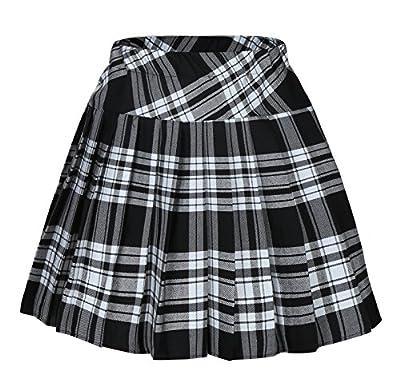 Genetic Women`s Short Plaid Elasticated Pleated Skirt School Uniform