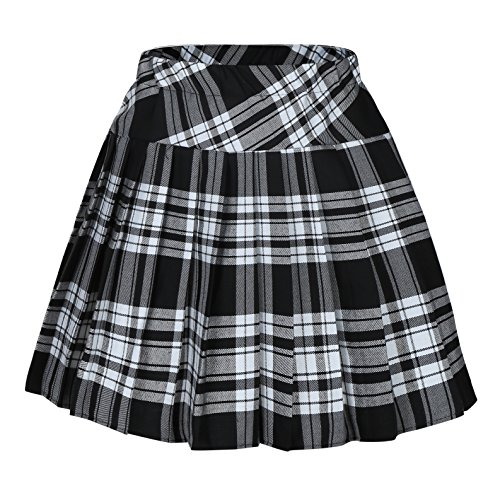 Girl's Fashion short costumes Elasticated Pleat Skirt (S, White black)]()
