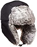 Fully Lined Faux Fur Reversible Black Weatherproof Trooper Hat for Men and Women