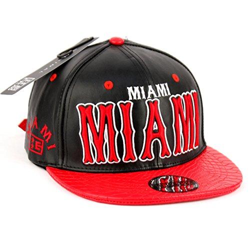 Miami Faux Leather Snapback Cap Miami Faux Leather