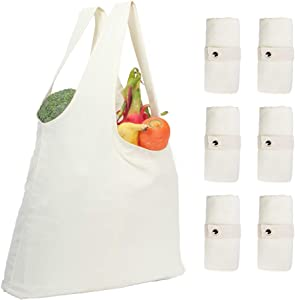 Reusable Grocery Totes Bags,Cotton Canvas foldable Shopping Bags with handle and Metal buckle,Natural(6 Pack)