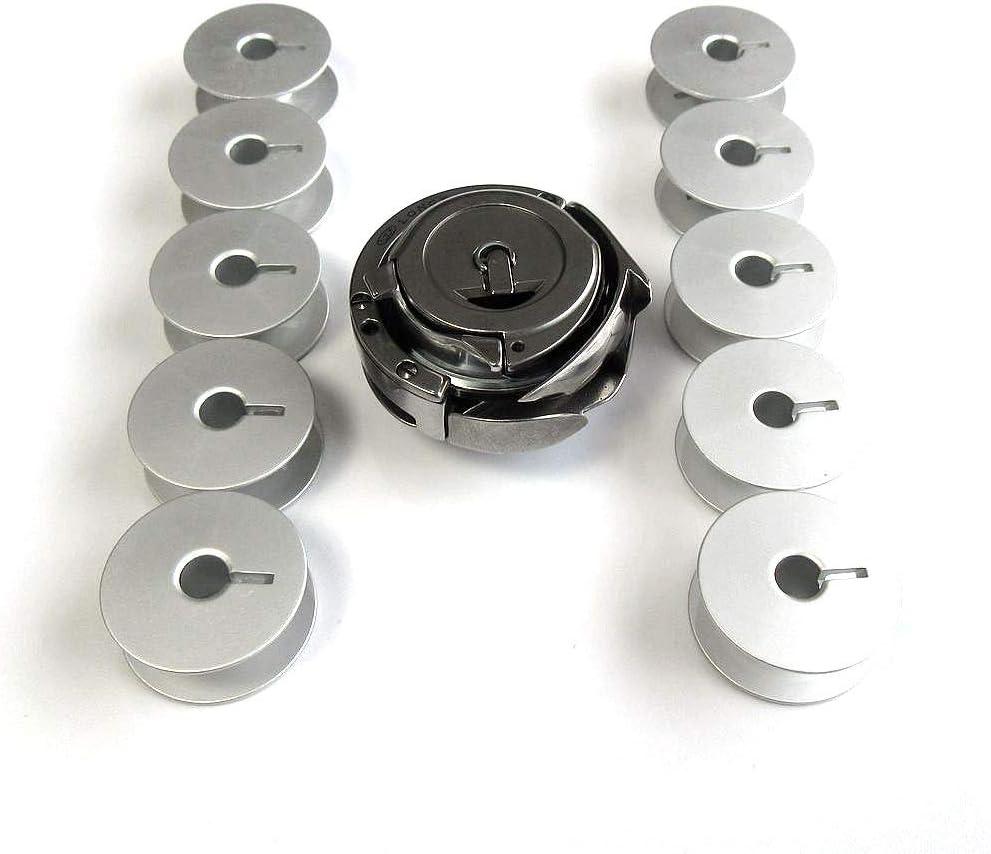 Gancho giratorio + tapa + 10 bobinas para máquinas de coser ...