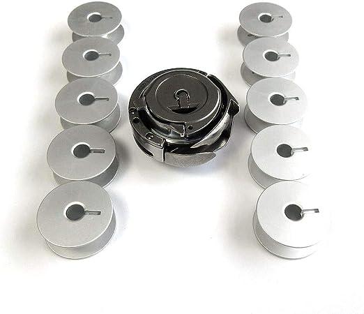 Gancho giratorio + tapa + 10 bobinas para máquinas de coser Durkopp Adler 167, 168, 267, 268: Amazon.es: Hogar