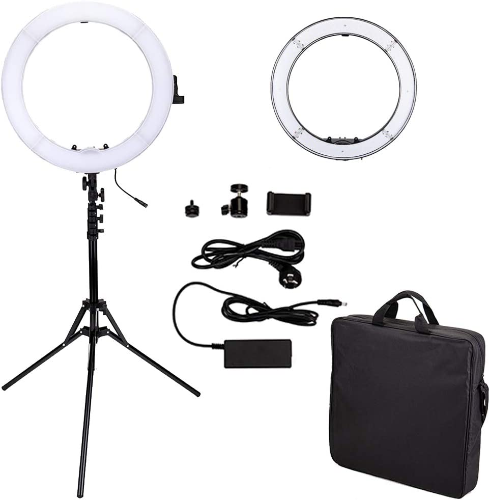 White 18 inches 480LED Dimmable LED Ring Light with Stand,Led Selfie Ring Light for Phone Camera Photo Youtube Self-Portrait Video Shooting Lighting Dimmable Led Ring Light Kit