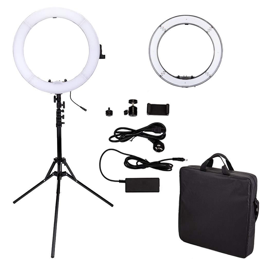 18in LEDリングライトセット カメラ写真ビデオ用照明キット 5500K 調光可能 480個SMD LED ライトスタンド付き Youtube 自撮り撮影 ビデオ撮影用 480個LED  B07GBV5NV4