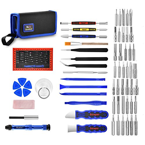 Kaisi 63 in 1 Precision Screwdriver Set with Magnetic Screwdriver Rrpair Kit, Professional Electronics Repair Tool Kit with Portable Bag for Repair Cell Phone, iPhone, iPad, Watch, Tablet, PC and More by Kaisi
