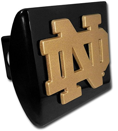 - Notre Dame METAL Gold Emblem on Black Hitch Cover