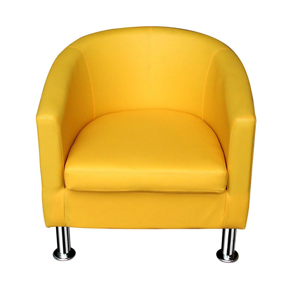 Jiaju Faux Leather Tub Chair Armchair club Chair Dining Living Room Cafe Padded Seat (Yellow