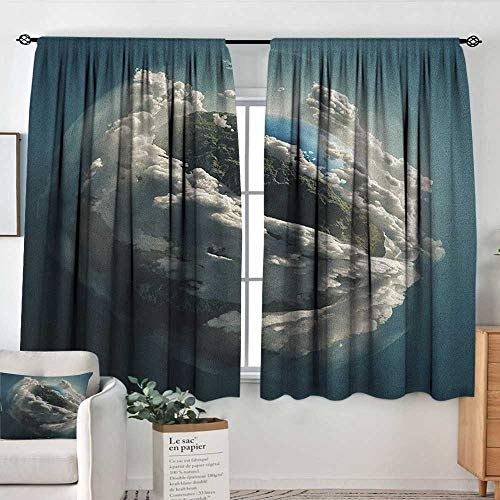 Theresa Dewey Rod Pocket Drapes and Curtain Earth,Planet Surrounded by Majestic Clouds Dramatic Aerial View Earth Environment, Petrol Blue White,Customized Curtains 42