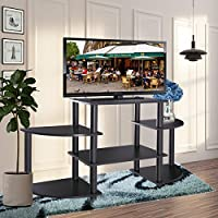 JAXPETY Turn-N-Tube Rounded Corner TV Stand Home Entertainment Center Black