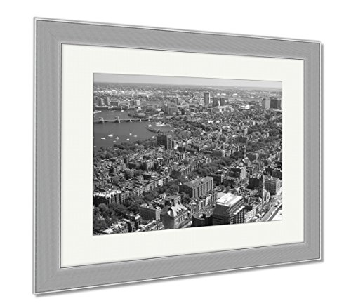 Ashley Framed Prints Aerial View Of Downtown Boston Prudential Tower Ma USA, Wall Art Home Decoration, Black/White, 34x40 (frame size), Silver Frame, - Prudential Eye