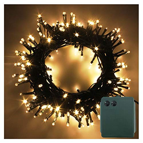PMS 200 LED String Fairy Lights Green Cable Battery Power Operated Waterproof Indoor & Outdoor for Christmas Tree Xmas Party Garden Decoration(200 LEDs Green Cable, Warm White)
