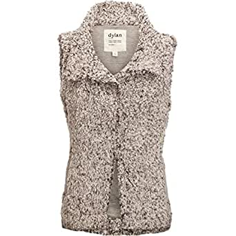 Dylan by True Grit Women's Frosty Tipped Pile Cozy Vest with Knit Lining Charcoal X-Small