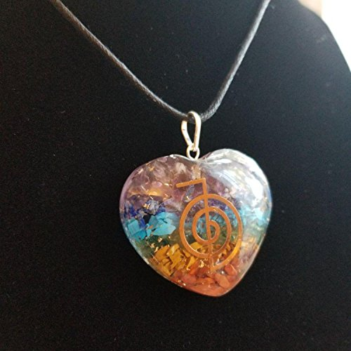 Orgone Heart Shape Pendant Chakras Stones Chakra Cleansing Pendant Necklace  Emf Protection With Reiki Symbol