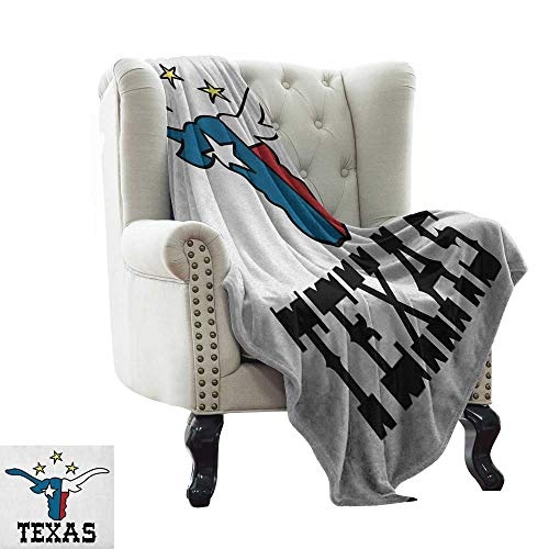 BelleAckerman Swaddle Blanket Texas Star,Doodle Style Buffalo Head with Horns Texas Flag and Vintage Letters Cowboy Theme, Multicolor Microfiber All Season Blanket for Bed or Couch Multicolor 50