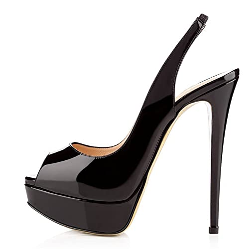 6c186db55a Women Peep Toe Platform Sandals Slingback High Heels Party Stilettos Dress  Shoes Black Size UK 2