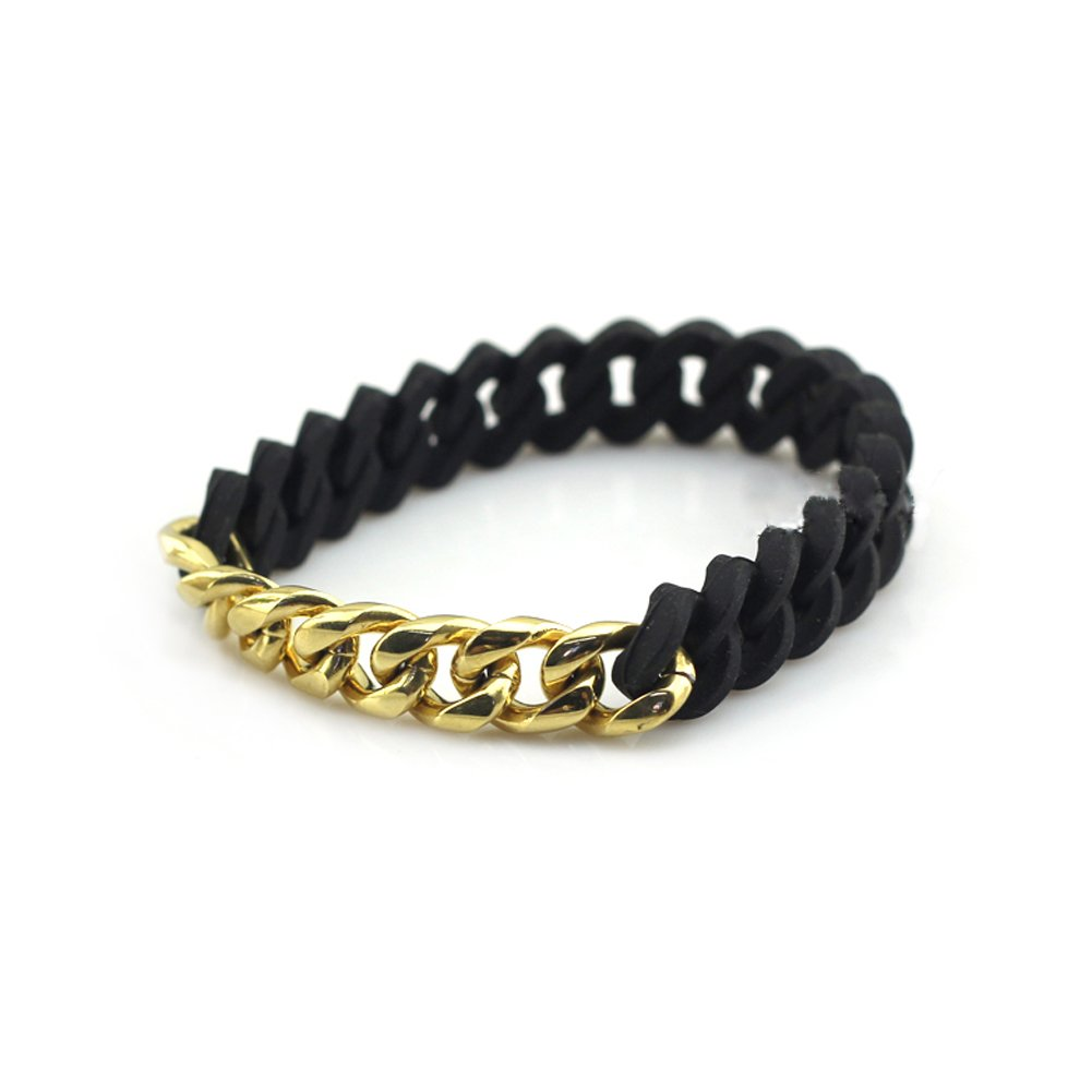 DEO JEWELRY Black Silicone Chain Stainless Steel Curb Link Bracelet For Men Charm Love Bracelets Gold