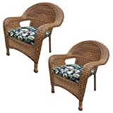 Oakland Living AZ90030-C-BF-NT Pair of Resin Wicker Arm Chair with Cushions (Pack of 2), Natural