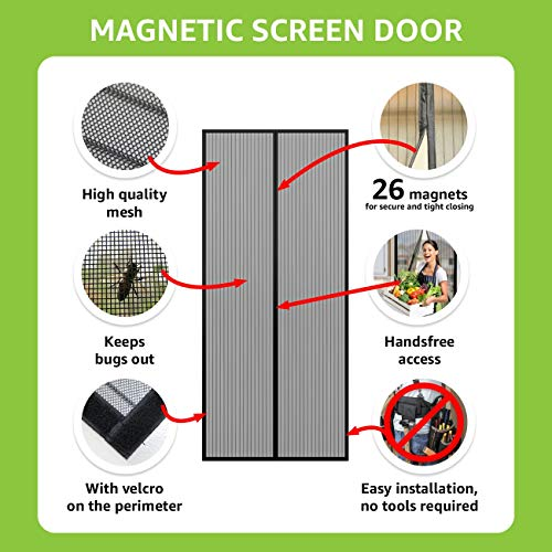- Home Element Magnetic Screen Door Black Mesh Curtain up to 38x82 Easy Install Heavy Duty Keep Mosquito Fly Out fits Most Door Sizes Full Frame Hook & Loop Patio Door