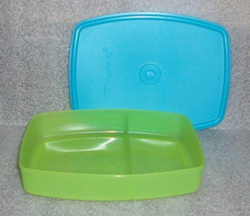 Tupperware Packette Divided Lunch Box Container Aqua Blue and Green