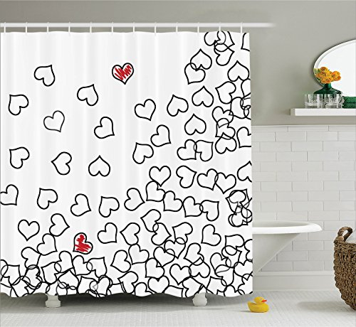 (Ambesonne House Decor Shower Curtain Set, Heart Shapes Love You Bridal Wedding His and Hers Valentine's Theme, Fabric Bathroom Decor with Hooks, 70 Inches, Black White)