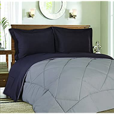 Sweet Home Collection 3 Piece Reversible Down Alternative Comforter Set with Euro Pillow Shams, Full/Queen, Charcoal/Silver