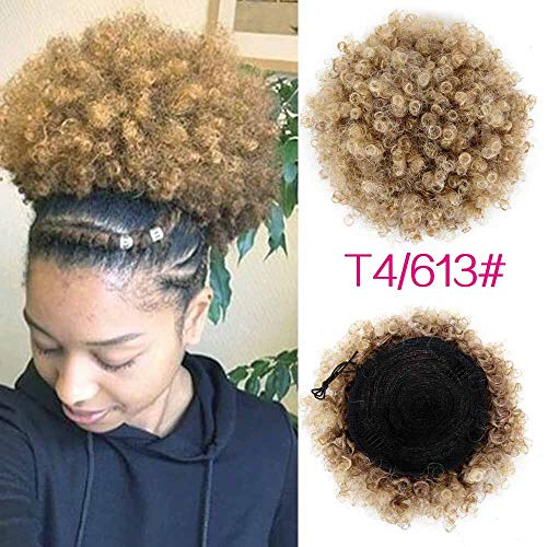 High Puff Afro Curly Wig Ponytail Drawstring Short Afro Kinky Pony Tail Clip In On Synthetic Curly Hair Bun Made Of P4/613 6inch -