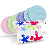 Washable Organic Bamboo Nursing Pads 8 pack Colors (4 pair) with Laundry Bag - Natural and Reusable, Ultra Soft, and Super Absorbent for the Ultimate Luxury Breast Pad - By Serenity Bamboo