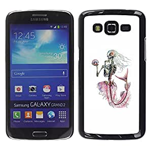 Estuche Cubierta Shell Smartphone estuche protector duro para el teléfono móvil Caso Samsung Galaxy Grand 2 SM-G7102 SM-G7105 / CECELL Phone case / / White Skeleton Mermaid Captain /