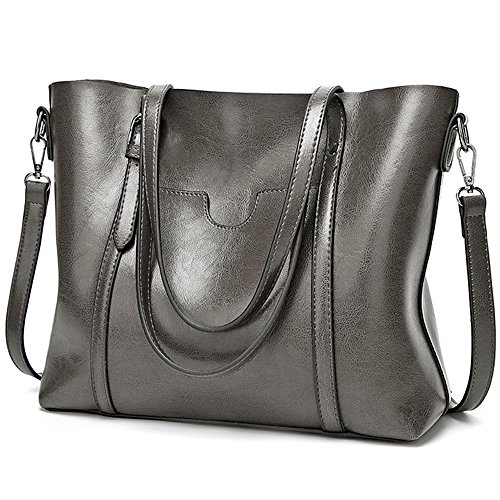 Grey Leather Handbags - 4