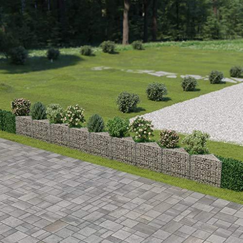 """Festnight Outdoor Garden Gabion Wall Planter Stone Basket Raised Bed Galvanized Steel 248""""x11.8""""x19.7"""""""