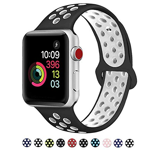 DOBSTFY Compatible for iWatch Bands 38mm 42mm,Soft Silicone Sport Band Replacement Wristband Compatible for iWatch Series 1/2/3, Ni ke+, Sport, Edition, 42mm M/L, Black/White