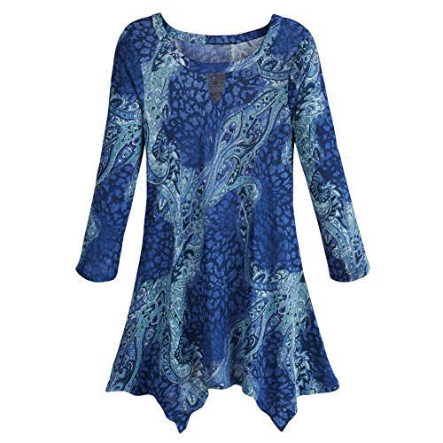Women's Tunic Top - Zola Blue Paisley Long Sleeve Shirt - Sharkbite Hem - 2X