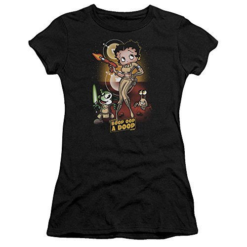 - Trevco Betty Boop Star Princess Juniors' Sheer Fitted T Shirt, Medium Black