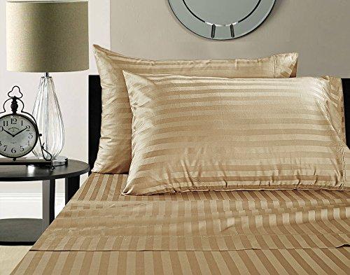 Damask Striped Pillowcase (Addy Home Fashions  Egyptian Cotton 500 Thread Count Damask Stripe Sheet Set, King - Wheat)