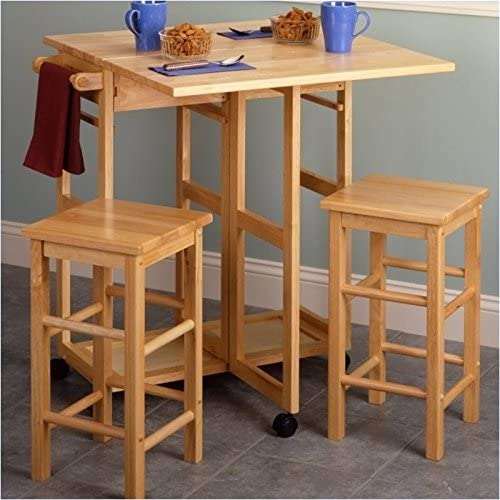 Amazon.com: Pemberly Row Drop Leaf Table Kitchen Cart with 2 ...