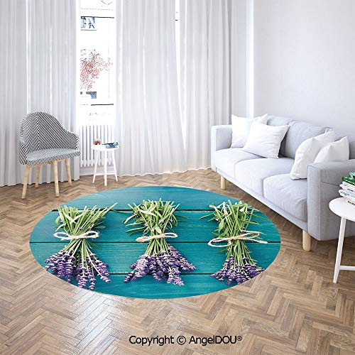 AngelDOU Bedroom Chair Rugs Non-Slip Door Round Mat Fresh Lavender Bouquets on Blue Wooden Planks Rustic Relaxing Spa Decorative Toilet Bath Decorate Carpets.