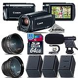 Canon VIXIA HF R800 Camcorder (Black) + Backup Battery + 0.43X Wide Angle Lens + 2.2x Telephoto Lens + Shotgun Microphone + 64GB Class 10 Memory Card + Stabilizing Handle - International Version