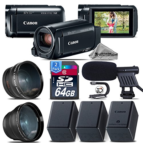 Canon VIXIA HF R800 Camcorder (Black) + Backup Battery + 0.43X Wide Angle Lens + 2.2x Telephoto Lens + Shotgun Microphone + 64GB Class 10 Memory Card + Stabilizing Handle - International Version by TriStateCamera