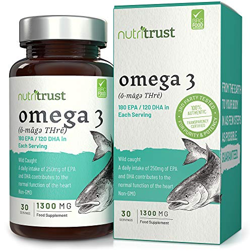 Omega 3 aceite de pescado 1300 mg cápsulas de gelatina blanda de Nutritrust® - Reforzado con vitamina E - Salvaje Fuentes de peces capturados no modificados ...