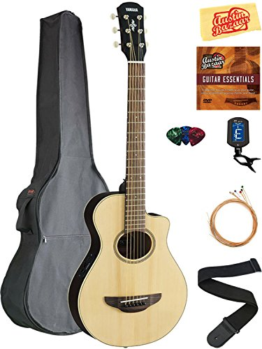 Yamaha APXT2 3/4-Size Acoustic-Electric Guitar – Natural Bundle with Gig Bag, Tuner, Strings, Strap, Picks, Austin Bazaar Instructional DVD, and Polishing Cloth
